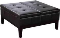 Simpli Home Dover Collection Square Coffee Table Ottoman with Split   - Click image twice for more info - See a larger selection of square coffee tables at http://zcoffeetables.com/product-category/square-coffee-tables/ - home, home decor, home ideas, home furniture, office furniture, table, gift ideas, living room, patio,garden, outdoor living