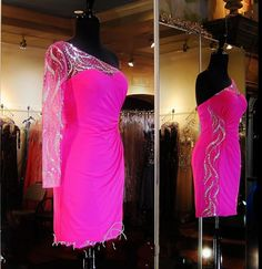 Cheap Dresses 2015 Sexy Homecoming Dresses With One Long Sleeves Real Pictures One Shoulder Crystals Chiffon Fuchsia Sweet 16 Gowns With Sheer Neck Gowns Dresses From Nicedressonline, $138.22| Dhgate.Com