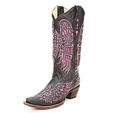 Corral Ladies Black and Pink Wing Cross Bling Cowgirl Cowboy Boots A1049