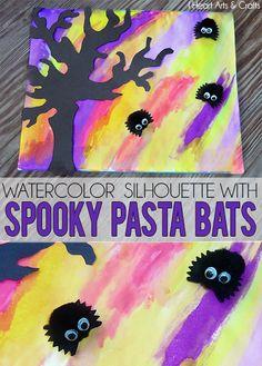 Watercolor Silhouette With Spooky Pasta Bats - Includes printable tree stencil! Easy preschool Halloween craft! #Halloween #Kids