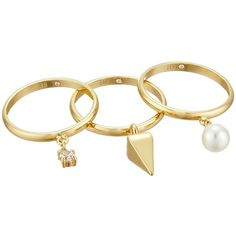 Rebecca Minkoff Set of Three Pearl/Crystal Charms Rings Ring (€43) ❤ liked on Polyvore featuring jewelry, rings, accessories, crystal stone jewelry, crystal charms, pyramid rings, pearl ring and crystal stone rings