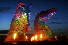 Kelpies (30 metre high horse-head sculptures)-----construction completed in 2013