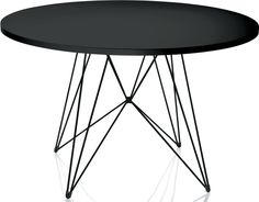 Tavolo - the round dining table by Magis. An exceptional table with delicate steel frame. Now available for purchase in the interior design shop. Round Accent Table, Round Coffee Table, Round Dining Table, Accent Tables, Dining Table Design, Black Table, Minimalist Design, Furniture Design, Black Furniture