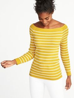 Rib-Knit Off-the-Shoulder Sweater for Women