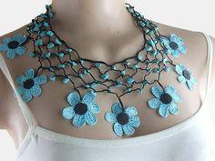 Blue and black  Crochet Flower Neckace Beaded Choker Turkish