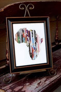 8x10 Black Framed Rolled Art-Africa, Haiti, China OR Cross | hand-rolled paper art by girls in Kenya | $30