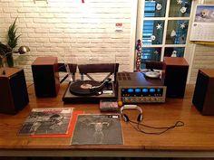 Marantz 4100 Quadra Amplifier, Technics TT and JBL little monitors Vintage audio