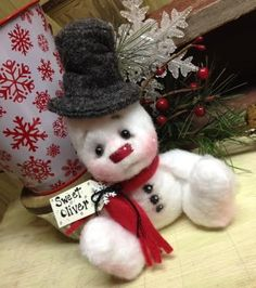 Primitive Raggedy Christmas 6in. Snowman Doll Winter Snow Shelf Sitter CUTE! #Unbranded #Christmas