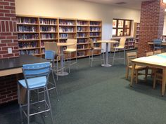 Cafe Tables and Stools,  Counter hung workstations and stools.  For more information contact us at www.jpjay.com School Library Design, Middle School Libraries, Library Table, Library Furniture, School Community, Cafe Tables, Learning Spaces, Stools, Counter