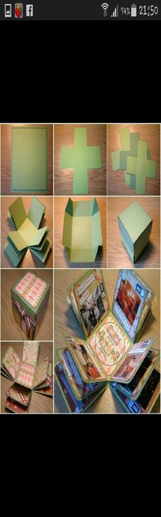 fun easy 'exploding' photo album using just coloured card #Family #Trusper #Tip
