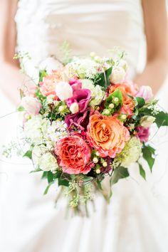 pink orange and white wedding bouquet Whimsical Wedding, Floral Wedding, Wedding Colors, Bride Bouquets, Bridesmaid Bouquet, Flower Bouquets, Summer Wedding, Dream Wedding, Hawaii Wedding
