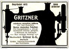Original-Werbung/Inserat/ Anzeige 1916 - GRITZNER NÄHMASCHINEN DURLACH - ca. 90 x 60 mm