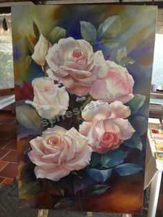 Oil roses – tierra viva – Join in the world of pin Galaxy Painting, Oil Painting Flowers, Watercolor Paintings, Rose Paintings, Big Flowers, Vintage Flowers, Art Floral, Beautiful Roses, Painting Inspiration