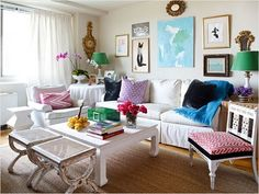 I love her home so much is her brilliant use of color and eclectic mix of pieces. It's exactly the look I'd like to achieve in my own home.