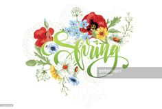 'Spring' hand-drawing text on abstract background