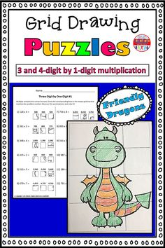 These grid drawings are a fun and creative way for your kids to practice their multiplication skills! Kids simply find the box that corresponds with the correct multiplication answer and transfer it into the square on the blank grid. Each page leads to a different picture of a friendly dragon to color.  This set includes three pages of 3-digit by 1-digit practice, and three pages of 4-digit by 1-digit practice. Multiplication Grid, Multiplication Activities, Math Worksheets, Math Resources, Math Activities, Elementary Teacher, Elementary Schools, 5th Grade Math, Second Grade