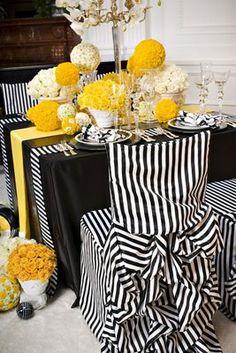black white and yellow wedding