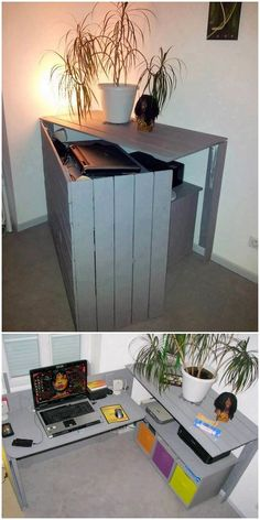 Fantastic DIY Wood Pallet Ideas That Can Improve Your Home - DIY Furniture - This is quite a funky style of the pallet folding office table that has been designed on striking c - Diy Wood Pallet, Diy Pallet Projects, Wooden Pallets, Pallet Ideas, Wooden Diy, Wood Projects, 1001 Pallets, Wood Ideas, Pallet Bar