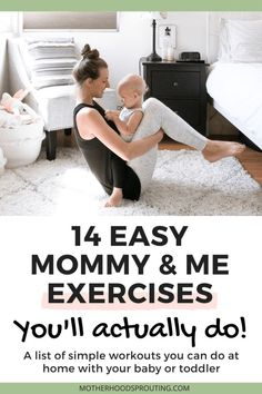 14 Easy Mommy and Me Exercises You'll Actually Do! Easy and simple mommy and me exercises for even the most out of shape mamas! You can do these 14 mommy and me exercises with your toddler or baby whenever you want to work out. - Pregnacy and moms Fitness Workouts, Fitness Motivation, Easy Workouts, Fitness Tips, Yoga Fitness, Physical Fitness, Workouts With Kids, Fitness Nutrition, Easy Fitness
