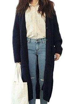 8b22fa67f0701 AZIZY Casual Fashion Loose Long Woolen Sweater Cardigan Oversize Coats Maxi  Robes