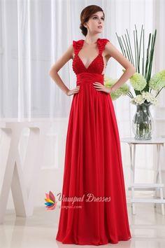 Chiffon Empire Waist Evening Dresses, Long V Neck Sequin Formal Dress, Deep V Neck Evening Gown, Long Red Chiffon Prom Dress, Chiffon Dress With Beaded V-Neck. Vampal