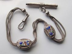 Exquisite French Enameled Antique Victorian Pocket Watch Chain - Slides