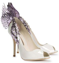 SOPHIA WEBSTER Angelica Lunar Winged Leather Pumps   |  $ BUY ➜ http://shoespost.com/sophia-webster-angelica-lunar-winged-leather-pumps/ Sophia Webster off white and metallic lilac patent leather pumps. The heel measures approximately 4.5 inches/ 115mm. It has laser-cut angel wing embellishments, open toe. Slip on.