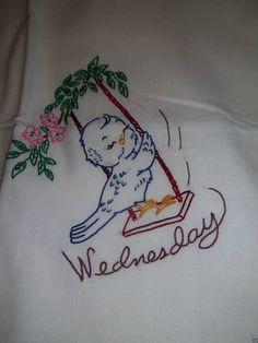 Sweet Vintage Birds Chicks 7 Days of The Week Hand Embroidered Huge Tea Towels |