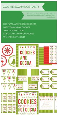 Holiday cookie exchange party recipes + free printables! Everything you need to throw a great holiday party!