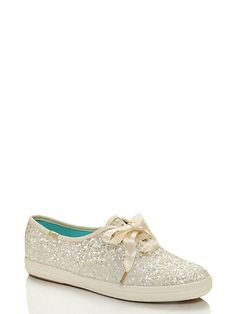 keds for kate spade new york glitter sneakers, white, large