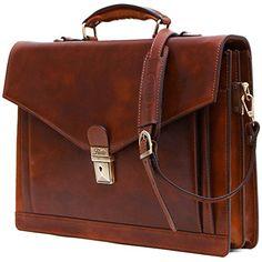 Floto Ponza Full Grain Leather Briefcase in Brown