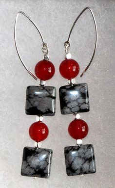 925 Sterling Silver Drop Earrings with Red Jade Beads, Square Snowflake Obsidian Beads and 925 Sterling Cube Beads