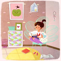 Un rincón para leer (ilustración de Monique Dong)