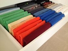 A great video demonstrating how to fold tee shirts beautifully in any drawer.