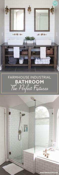 Industrial Farmhouse Bathroom - The Perfect Fixtures - Avanti Morocha Bathroom Renos, Bathroom Fixtures, Bathroom Flooring, Master Bathroom, Bathroom Bin, Brown Bathroom, Bathroom Ideas, Shower Ideas, Gold Bathroom