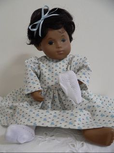 Rabbits on cradle wear for baby Sasha doll, by chirnside on eBay