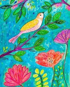 Bird Art  Bird Print  Bird Painting  Tropical Bird Art by Sascalia