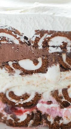 Neapolitan Swiss Roll Ice Cream Cake
