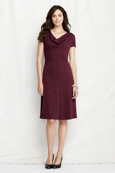 reusable and comfortable, not shiny  - Women's Drapeneck Sweater Knit Dress from Lands' End