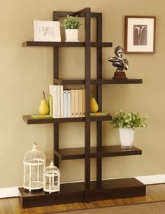 @Overstock - Materials: Wood, veneer, MDF  Finish: Cappuccino  Five (5) shelves  http://www.overstock.com/Home-Garden/Addison-Cappuccino-Bookcase-Display-Stand/6237339/product.html?CID=214117 $211.99