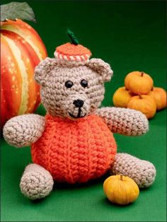 Pumpkin Bear Crochet Pattern - Kathleen Stuart  #Free #Crochet #Pattern free-crochet.com Membership site - membership is free and well worth it!