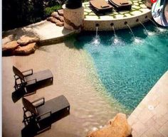 Pool that looks like a beach. I will settle for nothing less than this kind of a pool. Somebody build me this pool ASAP Living Pool, Outdoor Living, Outdoor Life, Outdoor Spaces, Beach Entry Pool, Beach Pool, Backyard Beach, Backyard Pools, Beach Walk
