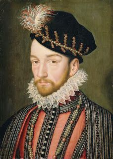 A portrait of King Charles IX of France, circa 1572 . By or after Francois Clouet