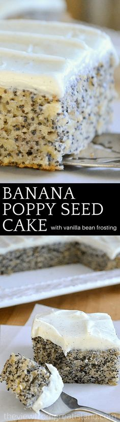 This moist Banana Poppy Seed Cake with Vanilla Bean Frosting is a quick one bowl banana cake recipe that everybody loves! #cake #bananacake #poppyseeds #poppyseedcake #snackcake #vanillabean #vanillabeanfrosting #vanillabuttercream #onebowlcake #bestbananacake #bananabread #dessert #snack #kidsdessert