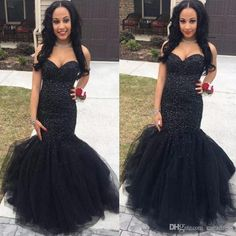 2017 Luxury Black Beaded Mermaid Prom Dresses Sweetheart Crystals Bling Evening Pageant Party Dresses with Tiered Ruffles Skirt Vestidos Cheap Prom Dresses Dresses Evening Wear Plus Size Evening Gown Dress Online with $186.0/Piece on Caradress's Store   DHgate.com