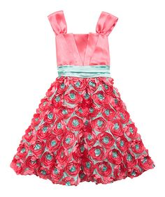 a335f4c63 Love this Coral & Mint Rosette Dress - Girls by Rare Editions on #zulily!