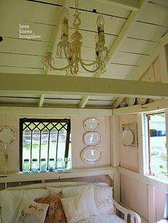 Inside the Potting Shed. I love how they& turned it into a little cottage! Backyard Sheds, Backyard Retreat, Garden Sheds, Garden Houses, Garden Tips, Cabana, Shed Interior, Interior Decorating, Interior Design