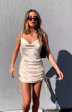 Lilith strappy ruched slip dress with thin adjustable shoulder straps and side drawstrings. Available in black and champagne. Source by riot_bae Dresses Slip Dress Outfit, Black Slip Dress, Mini Slip Dress, Silk Dress, Dress Outfits, Slip Dresses, Party Dresses, Mode Outfits, Chic Outfits