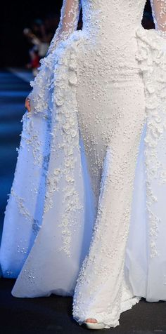 unusual bridal dress on the runway