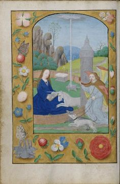 Unicorn annunciation - Aaron's rod - .a flowering almond branch - is in the background. The unfertilized stick bearing fruit, (and the fact that in Latin Virgo and Virga are so close)  a symbol of the virgin.  Furthermore, in one story Joseph does kind of a Aaron rod thing, so it sometimes is used as a symbol for him as well